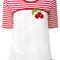 Dolce & gabbana cherry patch t-shirt, women's, size: 38, white, silk/cotton/viscose/polyamide