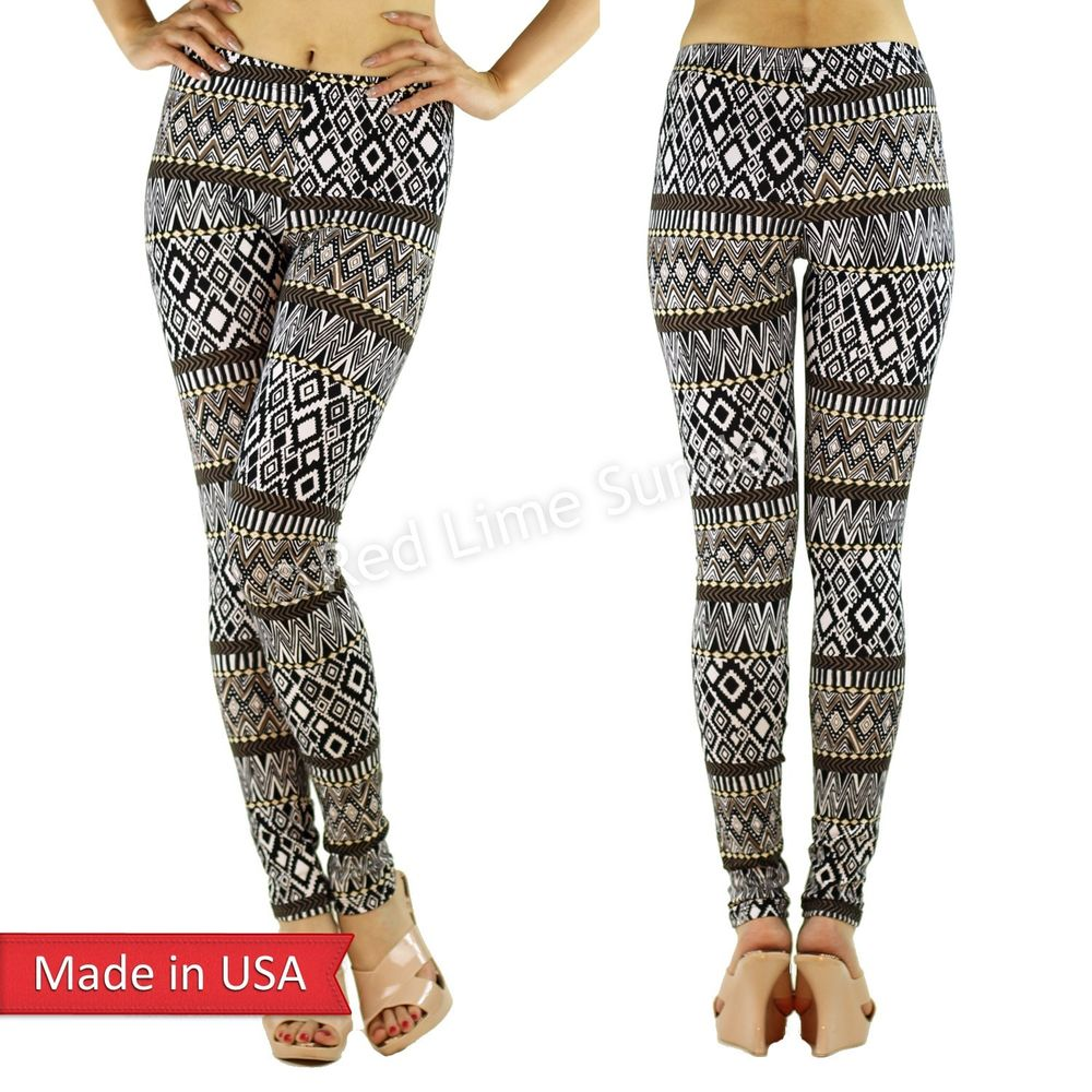 Tribal Aztec Ethnic Black White Brown Zigzag Pattern Print Leggings Tights Pants