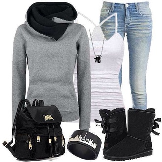 shoes black boots blouse jeans sweater grey