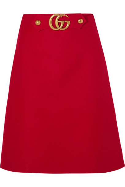 gucci skirt embellished silk wool red