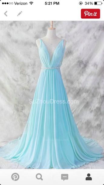 dress prom long blue