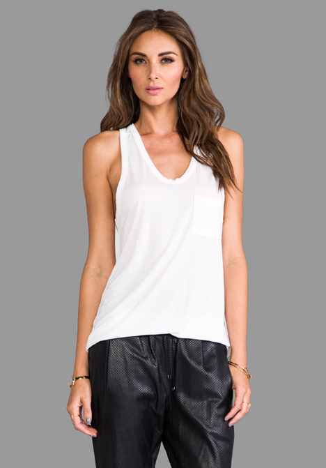 T BY ALEXANDER WANG Classic Tank with Pocket in White - T by Alexander Wang