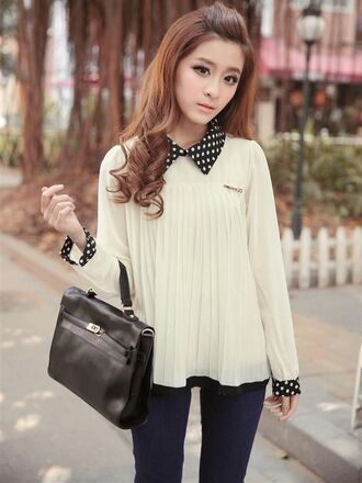 blouse polka dots white collar black cute kawaii