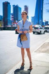 covering bases,curvy,blogger,dress,shoes,jewels,bag,sunglasses,blue dress,spring outfits,sandals,shirt dress