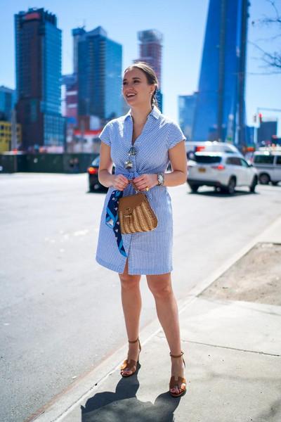covering bases curvy blogger dress shoes jewels bag sunglasses blue dress spring outfits sandals shirt dress