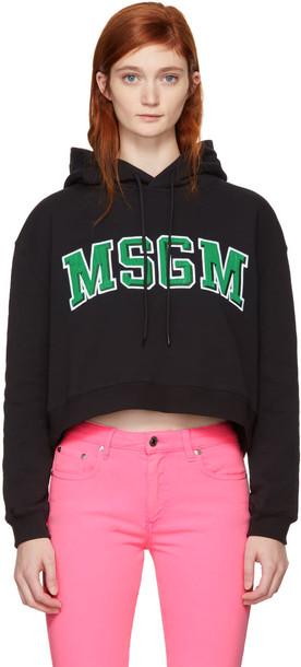 MSGM hoodie college cropped black sweater