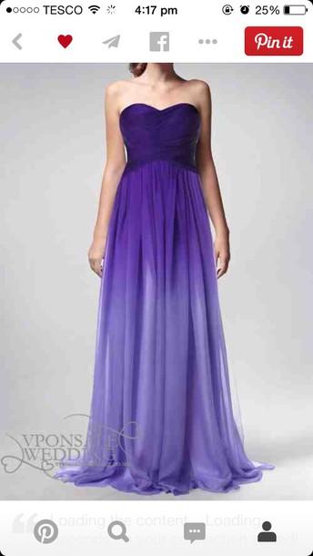 dress chiffon ombre skirt strapless sweetheart necklin