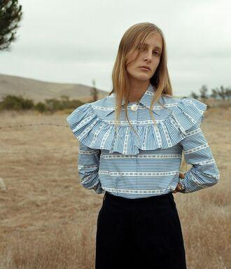 shirt miu miu designer ruffle ruffled shirt blue shirt romantic