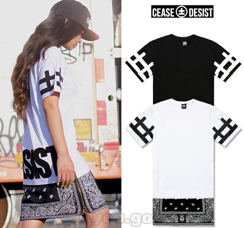 CEASE DESIST Paisley Bandana Print Graphic Tank Side Zipper T-Shirt Extended TEE