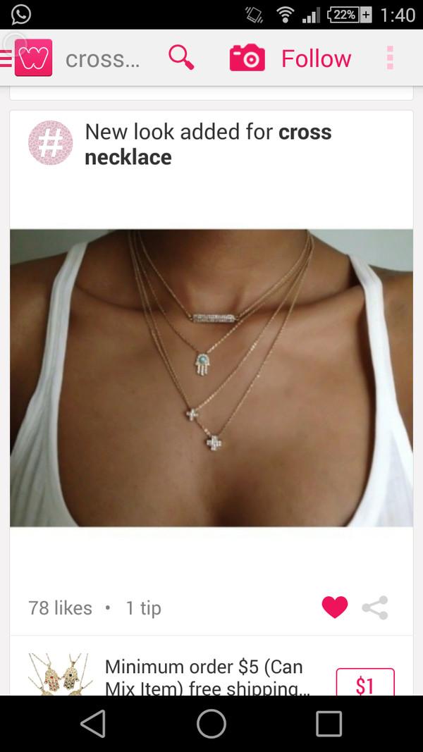 jewels necklace cross five hands