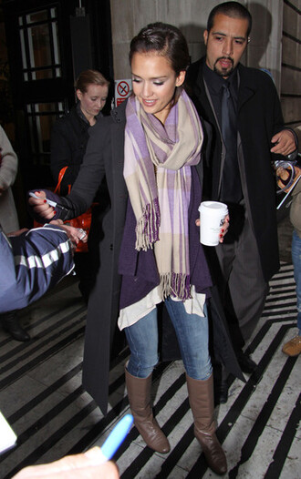 blouse scarf boots jessica alba sweater coat