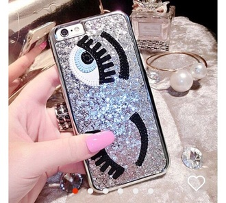 phone cover iphone cover eyes i phone case wink blue blue eyes glitter