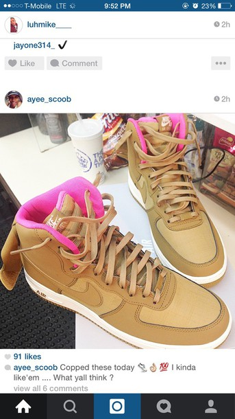 shoes tan nike forces pink inside