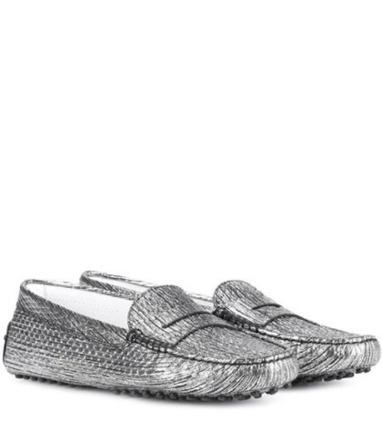 TOD'S loafers leather silver shoes