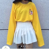 t-shirt,long sleeves,yellow