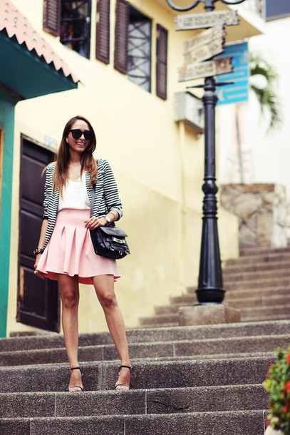 preppy fashionist blogger pink skirt stripes blazer sunglasses jacket top skirt shoes bag printed blazer white top mini skirt black sunglasses sandals sandal heels high heel sandals