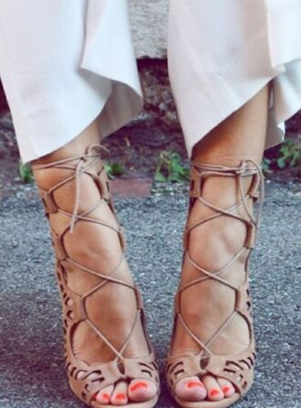 shoes nude high heels tie up heels lace up heels beige nude fashion fashionista style high heels cut-out boho bohemian gypsy