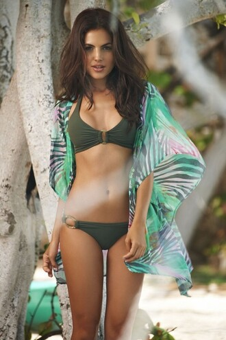 swimwear hot green bikini brown