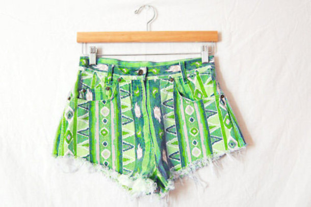shorts short green cute