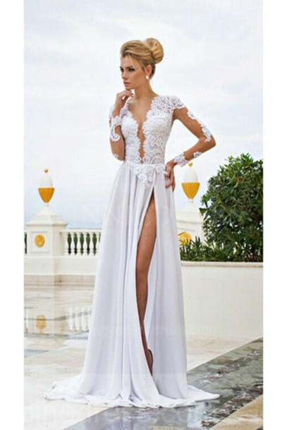 Long white dress with splits