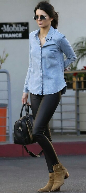 jeans leather pants kendall jenner