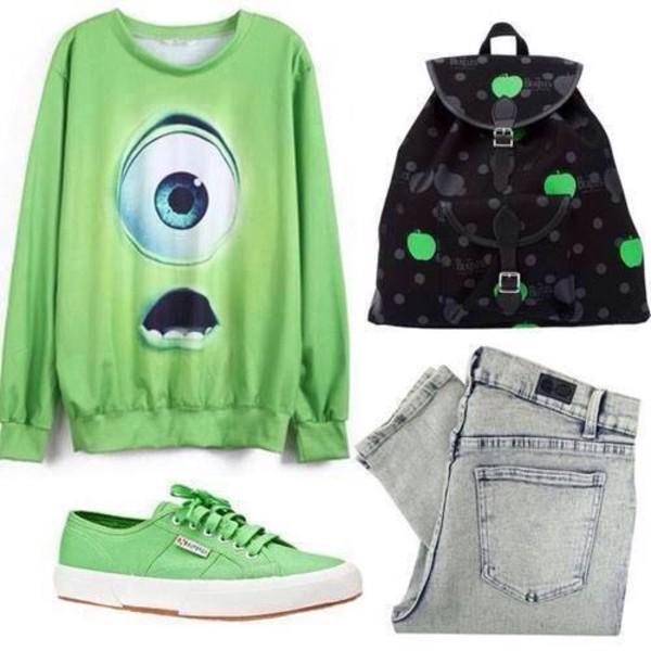 bag green fluorescent color black backpack apple green mike wazowski jeans fluo shirt sweater monsters university pants vans