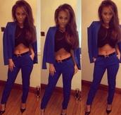 jumpsuit,crop top blue jeans and blue blazer,belt