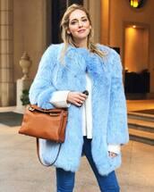 coat,tumblr,blue coat,fur coat,bag,brown bag,chiara ferragni,the blonde salad,blogger,top blogger lifestyle