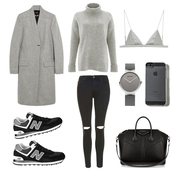fashion landscape,blogger,jeans,underwear,jewels,bag,winter outfits,grey coat,grey sweater,bra,watch,new balance