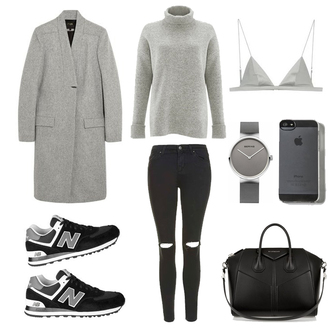 fashion landscape blogger jeans underwear jewels bag winter outfits grey coat grey sweater bra watch new balance