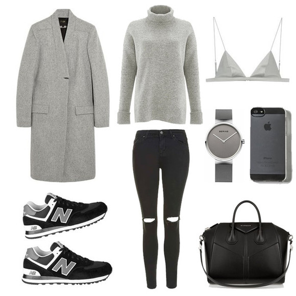 blogger bag nike shoes fashion landscape jeans underwear jewels winter outfits grey coat grey sweater bra watch