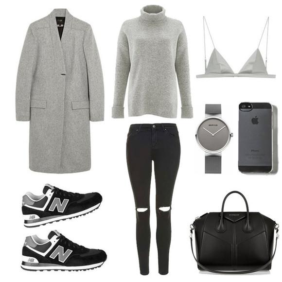 blogger bag grey sweater jewels fashion landscape jeans underwear winter outfits grey coat bra nike shoes watch