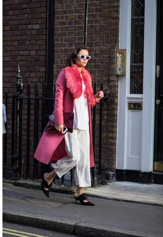 coat pink coat fur collar coat pants white pants cropped pants top white top shoes black shoes sunglasses