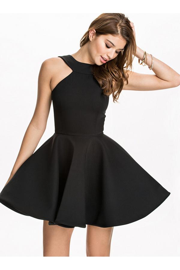 f106b152c016 Black Pretty Womens Halter Sleeveless Skater Dress