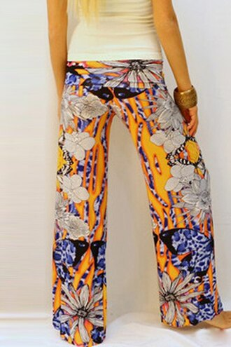 pants floral loose-fitting women print