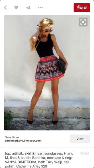 skirt coral blue black aztec skater skirt h&m