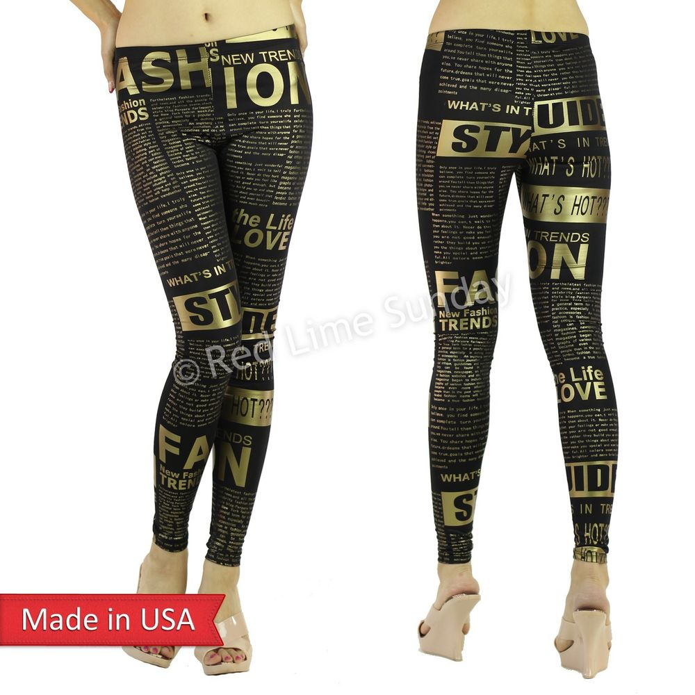 What's hot gold text fashion foil print black slim fit leggings tights pants usa
