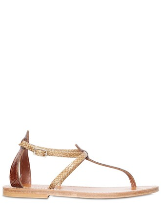 sandals leather sandals leather brown beige shoes