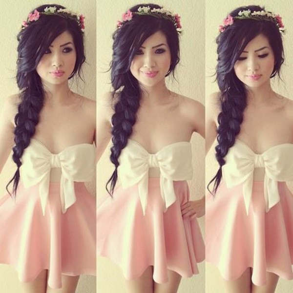dress hat headband head jewels hippie headband coachella festival bow top pink skirt pink white bow skirt tank top big bow corsage bow corsage top white dress pink dress flower headband bow dress shirt floral cute outfits schleife bows hair