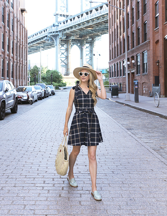 dress hat tumblr mini dress sleeveless sleeveless dress summer dress loafers shoes bag round tote sun hat