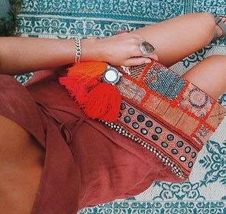 bag orange moroccan tassle clutch