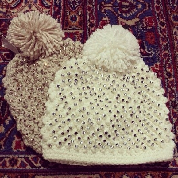 cute studded hat cold warm simple
