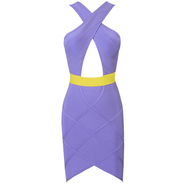 Sexy neck cross backless color splicing cut out bandage dress for women (as the picture,m)