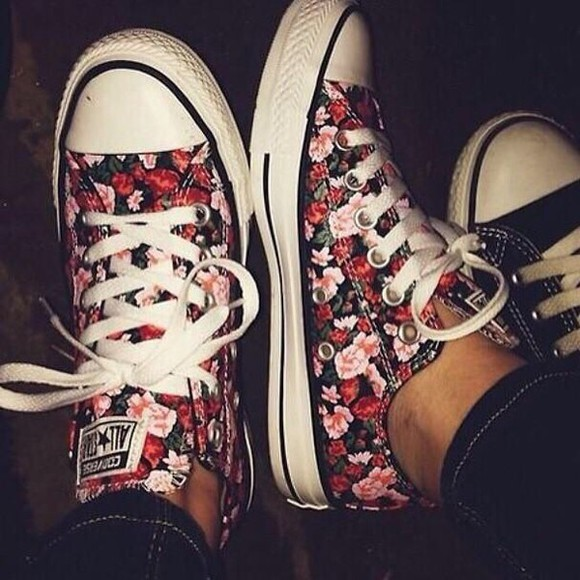 shoes converse chuck taylor all stars floral low top
