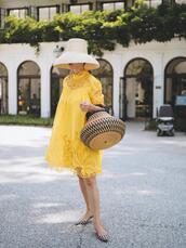 dress,yellow dress,midi dress,flats,woven bag,straw hat,lace dress