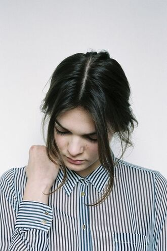 stripes striped shirt preppy back to school boyish brunette