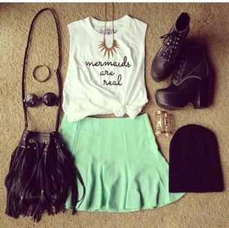 shirt white tank top mermaid shirt skirt sunglasses