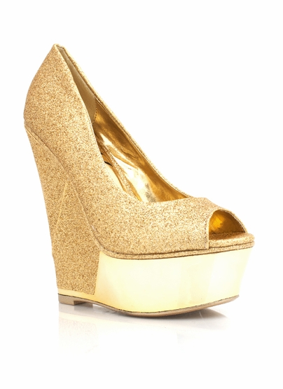 GJ | Metallic Trim Glitter Wedge $45.10 in BLACK GOLD MULTI - Wedges | GoJane.com