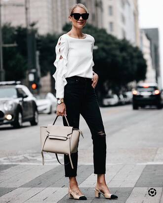 top tumblr white top long sleeves denim jeans black jeans ripped jeans shoes slingbacks bag nude bag sunglasses