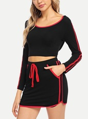 skirt,girly,girl,girly wishlist,two-piece,matching skirt and top,matching set,black,red,crop tops,cropped,crop